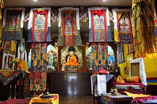 Altar at Shree Gaden Dhargay Ling Monastery