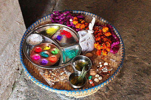Tika tray, loaded with goodies, just prior to the beginning of the Bhai Tika ceremony