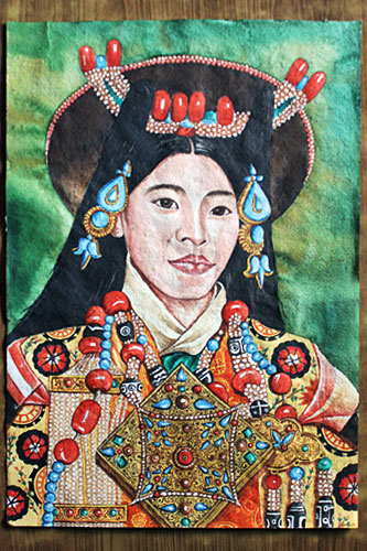 "Portrait of Tibetan Utsang woman, watercolor on handmade paper, 20"" high x 14"" wide, 4000 Rupees (NRS)"