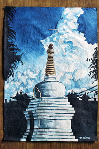 "Evening scene, Stupa with Monastery, watercolor, 20"" high x 14"" wide, 3500 Nepali Rupees (NRS)"