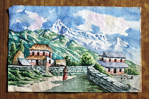 "Gandruk Trekking Region with Fishtail Peak in background, watercolor, 14"" high x 20"" wide, 3500 Nepali Rupees (NRS)"