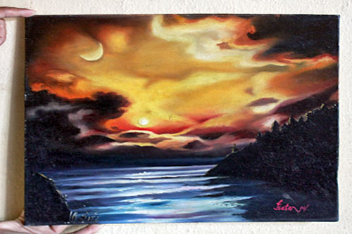 "Sunset over Water, oil on canvas, 13.5"" high x 18"" wide, 3000 Nepali Rupees (NRS)"