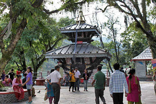 Barahi Temple on a small i sland in Phewa Lake Pokhara Nepal