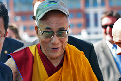 Dalai Lama arrives at Yard Park in Washington DC to pour blessed sands from dissoved Kalachakra mandala into Anacostia River