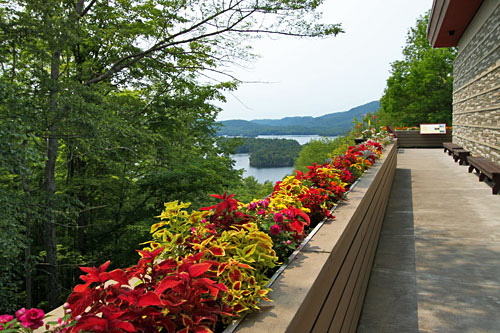 View deck at Adirondaack Museum overlooks Blue Mountain Lake