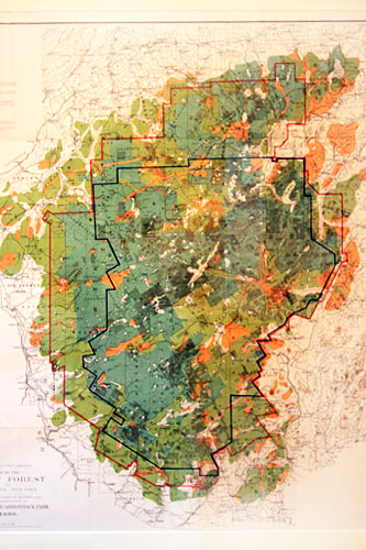 Map of Adirondack Park, at 6 million acres the largest park in the United States