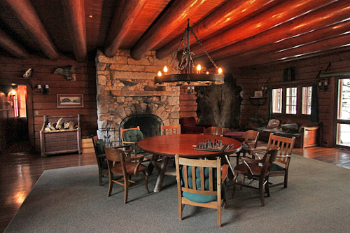 Ground floor common room in main lodge, Great Camp Sagamore