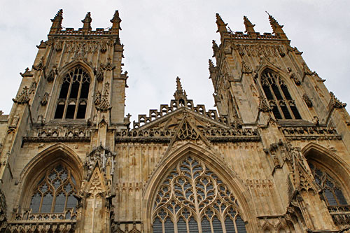Filigreed towers of York Minster in York, England
