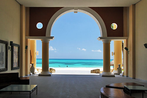 View of beach from Grand Hotel Paraiso on the Mexican Riviera Maya